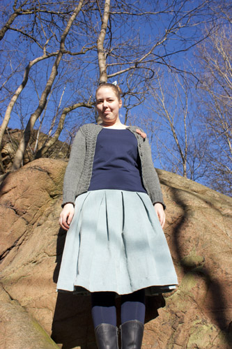 Skirt with double folds