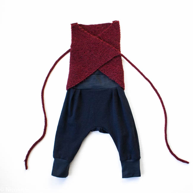 docksjö design Tussilago trousers bary paelas baby wrap vest